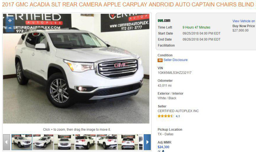 GMC Acadia auction